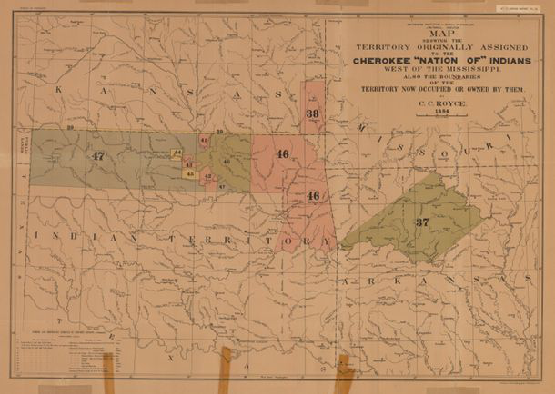 A map showing the lands originally assigned to the Cherokee Nation lying west of the Mississippi River. (Courtesy of the Oklahoma Historical Society)