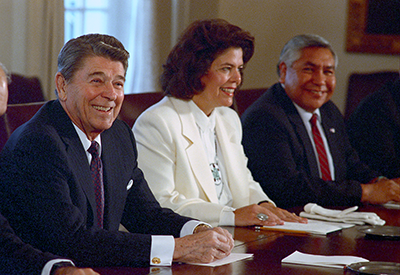Principal Chief Wilma Mankiller meets with President Reagan, December 1988